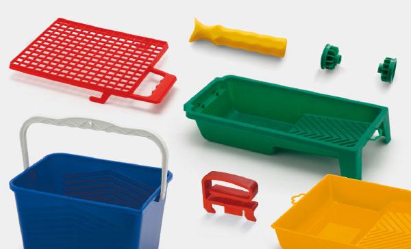 Accessori per rulli produzione: vaschette, secchi, reti, manici e flange per rulli - manici e ghiere per pennelli