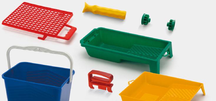 Accessori per rulli produzione: vaschette, secchi, reti, manici e flange per rulli